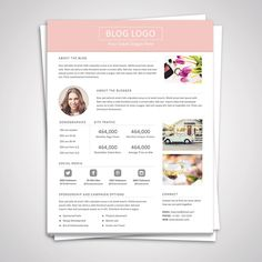 Blog Media Kit Template - Press Kit - Pitch kit