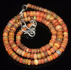 """57 Tcw 3.5 to 6 mm 16"""" Natural Ethiopian Welo Fire Opal Necklace ---101"""