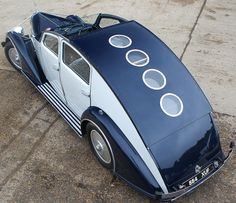 From the cool shades of blue and the sculptural lines to the porthole-studded retractable roof, this stunning French Art Deco era car is so inspiring. http://www.nytimes.com/2013/07/28/automobiles/collectibles/a-deco-confection-flamboyant-and-french.html?hp&_r=0