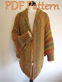 I love this knitted cape sweater.  The pattern at the original link is no longer available, but I think I could make a copy from this picture.