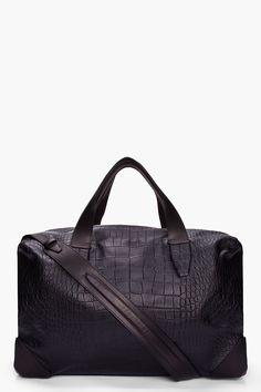 ALEXANDER WANG Oversize Black Croc Embossed Leather Wallie Duffle Bag