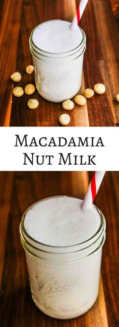 Macadamia Nut Milk - a rich and creamy dairy-free milk that doesn t require any straining Wonderful in smoothies and creamy pureed soups Nut Milk Recipe, Milk Recipes, Dairy Free Recipes, Healthy Recipes, Alkaline Recipes, Gluten Free, Paleo Meals, Skinny Recipes, Healthy Foods