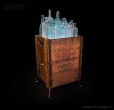 """Nice Lights in the Box: Recycled Wood & Bottles Floor Lamp  #FloorLamp #Recycled #Wood      The """"Glassket"""" floor lamp conceptby AfterGlow Design is an ongoing series combining containers such as crates, buckets, footlockers and ca..."""