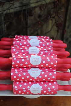 red polka dot cooking party invitations