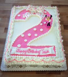 Minnie Mouse Sheet Cake with Pink Polka Dot Number 2