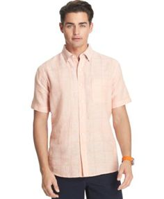 Izod Tonal Plaid Linen-Blend Dobby Short Sleeve Shirt