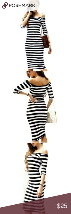 Off the Shoulder Stripe Dress NWT SIZE M  Knee-Length Off the Shoulder Casual SilhouettePencil Material:cotton blends Pattern :TypeStriped Stretch Material Dresses Midi