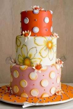 Hip, Funky Wedding Cakes Gallery, but like the free hand mixed with the decor Gorgeous Cakes, Pretty Cakes, Amazing Cakes, Take The Cake, Love Cake, Funky Wedding Cakes, Cake Wedding, Dessert Original, Gateaux Cake