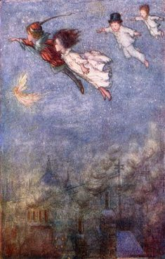 Peter Pan Flying Vintage Wall Art - what a classic piece Get custom HD vintage art on canvas, posters and printable at an affordable price + fast shipping! Vintage Artwork, Vintage Walls, Peter Pan Flying, Hd Vintage, Vintage Style, Jm Barrie, Arthur Rackham, Poster Prints, Art Prints