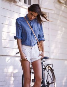 White Cutoffs + Chambray Shirt