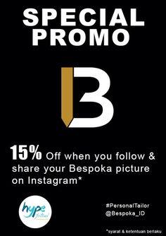 Get 15% when you follow & share your Bespoka purchase picture on Instagram. Promo is only available for in-bazaar purchase.  See you guys at HYPE Festival Market 28-30 August & 4-6 September  2015.  #Bespoka_ID #Bespoka #PersonalTailor #HypePik #HYPEfestivamarket #HYPE2015 #AtlantisHYPE2015 #Batik #Kemeja #BatikIndonesia #bespoke