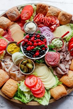 An Epic Sandwich Charcuterie Board for easy hosting and holiday parties. Add your favorite sandwich ingredients; guests make their own (warm) sandwich! Charcuterie Recipes, Charcuterie And Cheese Board, Charcuterie Platter, Charcuterie Lunch, Cheese Boards, Party Food Platters, Food Trays, Cheese Platters, Party Food Buffet