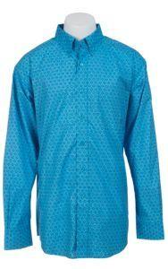 Ariat Men's L/S Caidan Turquoise Western Print Shirt 10012343 | Cavender's
