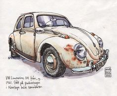 Every time I took the ferry out to the island this summer, I thought to myself I have to draw this old VW Beetle in the ferry parking lot before someone moves the old beauty away. Didn´t get around to Sketch Painting, Watercolor Sketch, Car Painting, Watercolor Paintings, Art And Illustration, Illustrations, Car Drawings, Drawing Sketches, Arte Sketchbook