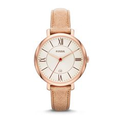Fossil Jacqueline Three-Hand Leather Watch - Camel