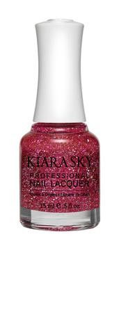 Kiara Sky Polish Strawberry Daiquiri N522. Kiara Sky® Professional Nail Lacquer is an advanced formula free of Formaldehyde, Toluene, and DBP. Our highly pigmented, high-fashion nail lacquer provides glassy, full coverage, long-wearing shine for natural nails. Kiara Sky patent-pending bottle design is paired with Precision Brush® technology engineered to complement our highly pigmented formula, giving you the most even and precise lacquer application. Available in 101 trendsetting...