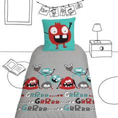 housse de couette monstrueusement amusante pour garçons / Monstrously funny quilt cover for little boys