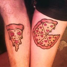 Left Pizza by Bronte on Ash, and right pizza by Ash on Bronte, both at Taattoo Wombwell.