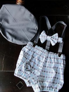 Smash Cake Outfit, Birthday Boy Outfit,  Bowtie, Suspenders, Diaper Cover and Party Hat on Etsy, $78.00