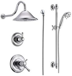 Delta DSS-Cassidy-17T01PN Brilliance Polished Nickel TempAssure 17T Series Thermostatic Shower System with Integrated Volume Control, Shower Head, and Hand Shower - Includes Rough-In Valves - FaucetDirect.com