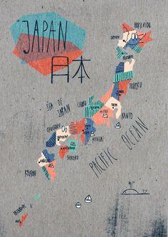 Japan 日本 Art Print by Soraya Santamaria - Illustration Draw Map, Travel Illustration, Japan Illustration, Design Art, Graphic Design, Map Globe, Japan Design, 3d Prints, City Maps