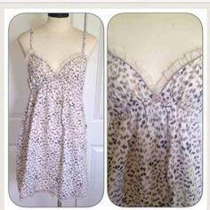 VS Leopard sleep dress Leopard tank sleep dress. Lace ruffle/velvet trim. Feels like soft flannel. Perfect for cool fall and winter nights. Victoria's Secret Intimates & Sleepwear Chemises & Slips