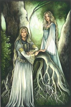 Galadriel and her daughter Celebrian, who was the wife of Elrond and mother of Arwen. so technically Galdriel is Elrond's mother-in-law.