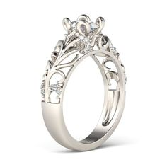 Branch-shaped Oval Cut Created White Sapphire Rhodium Plating Sterling Silver Women's Ring