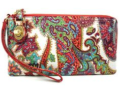 Hobo Mila Leather Regal Paisley L Zip Wallet Wristlet
