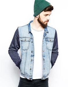 The Laundry Folk - Dalston - Giacca di jeans slim con maniche in felpa