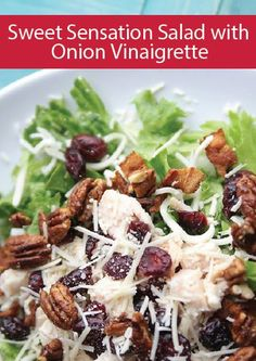 No summer celebration is complete without a salad! This Sweet Sensation Salad with Blush Onion Vinaigrette is a refreshing take on a traditional salad that boasts the perfect amount of sweetness finished off with a satisfying pecan crunch.