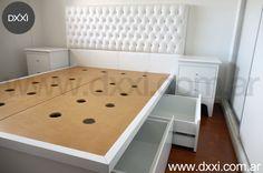Furniture designed & manufactured by DXXI, Buenos Aires, Argentina. Muebles diseñados y fabricados por DXXI, Buenos Aires, Argentina #dxxi #deco #furniture #interiors #design #dormitorio #cama con cajones #respaldo