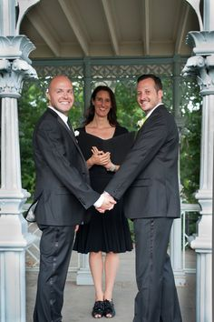 Greg and Parker's wedding in Central Park, in the Ladies Pavilion, a historic tram stop, now a beautiful wedding venue chosen by many of my gay and lesbian wedding couples. What joy... xo, Jester of the Peace
