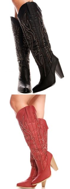 Yee haw! Cowboy boots are essential for every girl's closet! They are great for date nights at the rodeo complete with some fun line dancing; or you can wear them casually with jeans! They feature that signature stitching and a low heel to keep you dancing all day!