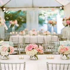 Simply Elegant Nashville Wedding | Table Arrangements | SouthernLiving.com--love this! simple, clean, elegant.
