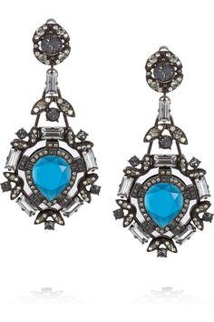 Lanvin|Pewter crystal clip earrings