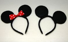 One Creative Housewife: DIY Mickey  Minnie Mouse Ears