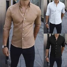 Losait Mens Business Cozy Short Sleve T-Shirts Pure Colour Dress Shirts