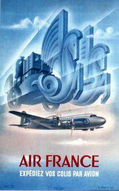 AIR FRANCE - PONTY 1949 - Expédiez vos colis - 50x70cm AFFICHE / POSTER >NEUF<