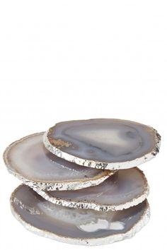 Silver Trim Agate Coasters