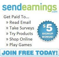 SEND EARNINGS- IS WHERE YOU CAN DO SURVEYS AND OPEN EMAILS AND OTHER ACTIVITIES TO EARN CASH. USE THIS LINK TO Join: http://www.sendearnings.com/?r=ref1552495