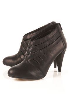 JAMIE Black Leather Cross Strap Shoeboots
