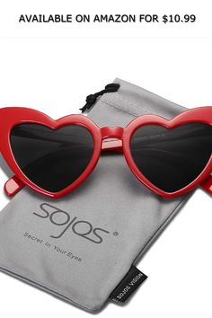 SOJOS Heart Sunglasses Clout Goggle Vintage Cat Eye Mod Style SJ2062 ◆ AVAILABLE ON AMAZON FOR: $10.99 ◆ Welcome SojoS Vision-A brand worth you to trust and purchase. SojoS Vision loves the sunshine, natural beauty, and of course - beautiful eyes. We design each of our glasses with comfort, lift, and spirituality in mind to fit your lifestyle. Our name was inspired by the secret in your eyes, coming from the Spanish 'ojos' (eyes). There is truly a story behind everyone's eyes, and we take… Heart Shaped Sunglasses, Style Retro, Mod Fashion, Vintage Cat, Beautiful Eyes, Cat Eye, Natural Beauty, Trust, Spanish