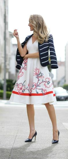 white v neck a line dress with floral embroidery ribbon detailing in red, pink, light blue and navy blue; navy and white striped knit blazer; navy pumps {karen millen, jimmy choo}