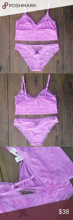 """Body by Victoria The Lounge Bralette & Panty Set This bralette & panty set is a sort of pink/pink-purple  color. It's """"The Lounge Bralette"""" style and the panty is """"Cheekini"""" style. The bra is unlined, wireless, has adjustable straps, & is pullover style. There's a wide band under cups for secure fit. The panties & bralette have mesh & lace detailing. Please note: the color of the set is the same, but the fabric/lace detailing is different (pic 3). Both are Medium and NWT. (Medium bralette…"""