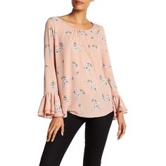Pleione Floral Bell Sleeve Blouse ($33) ❤ liked on Polyvore featuring tops, blouses, dusty rose wllpr, floral tops, scoop neck top, pink blouse, pink floral top and long tops