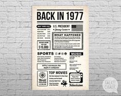Ce RETOUR à L'affiche de la JOURNÉE est remplie de plaisir faits et les faits saillants de ce qui s'est passé dans l'année 1977. Cette affiche a un fond de papier vieilli pour cette sensation de journaux d'époque «back in the day». Typographie avec des icônes simples donnent l'affiche un style intemporel. Cette affiche fait un grand morceau de conversation à des fêtes et un cadeau souvenir fantastique quand imprimée et encadrée.  Sil vous plaît lire attentivement les points ci-dessous…