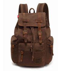 Men's Vintage Canvas Leather Hiking Travel Military Backpack Messenger Tote Bag | eBay