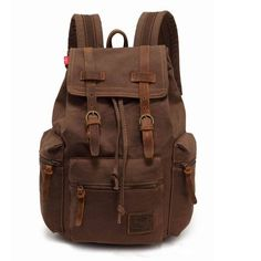 Men's Vintage Canvas Leather Hiking Travel Military Backpack Messenger Tote Bag | eBay