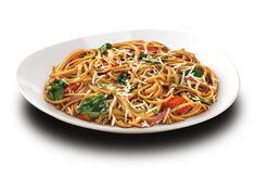 Noodles & Company: Whole Grain Tuscan Fresca: whole grain linguine with balsamic, olive oil, white wine, roasted garlic, red onion, tomato, spinach, and parmesan